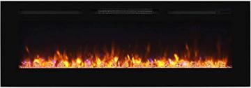 """RICHEN Elektrokamin Fiamma - Elektrischer Einbaukamin (153 cm / 60"""") Mit Heizung, LED-Beleuchtung, 3D-Flammeneffekt & Fernbedienung - Elektrischer Kamin Schwarz - 1"""
