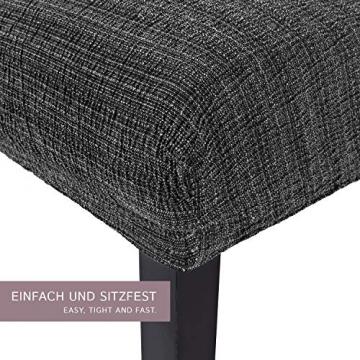 SCHEFFLER-Home Stretch Stuhlhusse Anna | 2er Set elastische Stuhlabdeckungen in feinem Raff-Look | Stuhlhussen Schwingstühle | Spannbezug mit Gummiband | Elegante Stuhlbezüge - 2