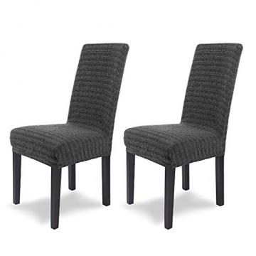 SCHEFFLER-Home Stretch Stuhlhusse Anna | 2er Set elastische Stuhlabdeckungen in feinem Raff-Look | Stuhlhussen Schwingstühle | Spannbezug mit Gummiband | Elegante Stuhlbezüge - 1