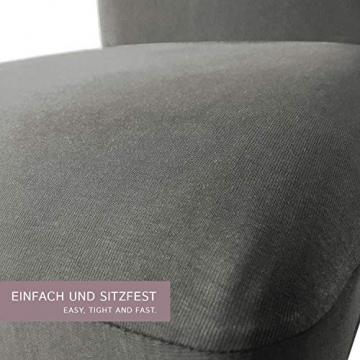 SCHEFFLER-Home Stretch Stuhlhusse Emma | 2er Set elastische Stuhlabdeckungen aus Baumwolle | Stuhlhussen Schwingstühle | Spannbezug mit Gummiband | Elegante Stuhlbezüge - 2
