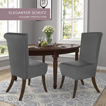 SCHEFFLER-Home Stretch Stuhlhusse Emma | 2er Set elastische Stuhlabdeckungen aus Baumwolle | Stuhlhussen Schwingstühle | Spannbezug mit Gummiband | Elegante Stuhlbezüge - 3