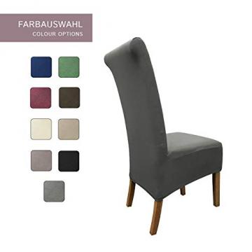 SCHEFFLER-Home Stretch Stuhlhusse Emma | 2er Set elastische Stuhlabdeckungen aus Baumwolle | Stuhlhussen Schwingstühle | Spannbezug mit Gummiband | Elegante Stuhlbezüge - 4