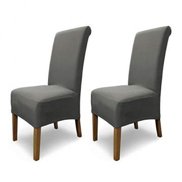 SCHEFFLER-Home Stretch Stuhlhusse Emma | 2er Set elastische Stuhlabdeckungen aus Baumwolle | Stuhlhussen Schwingstühle | Spannbezug mit Gummiband | Elegante Stuhlbezüge - 1