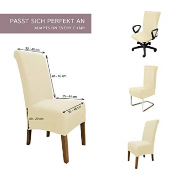 SCHEFFLER-Home Stretch Stuhlhusse Emma | 2er Set elastische Stuhlabdeckungen aus Baumwolle | Stuhlhussen Schwingstühle | Spannbezug mit Gummiband | Elegante Stuhlbezüge - 5