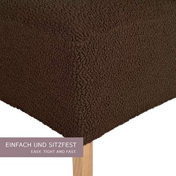 SCHEFFLER-Home Stretch Stuhlhusse Jacquard Lea | 2er Set elastische Stuhlabdeckungen | Stuhlhussen Schwingstühle | Spannbezug mit Gummiband | Elegante Stuhlbezüge, Braun - 2