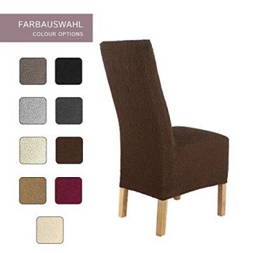 SCHEFFLER-Home Stretch Stuhlhusse Jacquard Lea | 2er Set elastische Stuhlabdeckungen | Stuhlhussen Schwingstühle | Spannbezug mit Gummiband | Elegante Stuhlbezüge, Braun - 4