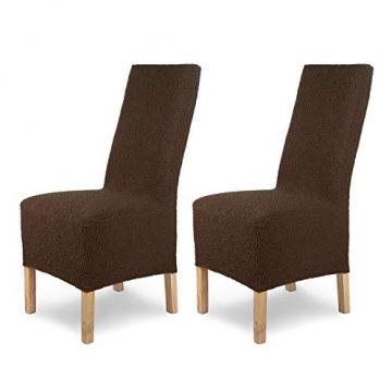 SCHEFFLER-Home Stretch Stuhlhusse Jacquard Lea | 2er Set elastische Stuhlabdeckungen | Stuhlhussen Schwingstühle | Spannbezug mit Gummiband | Elegante Stuhlbezüge, Braun - 1