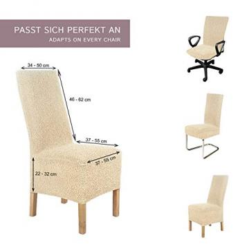 SCHEFFLER-Home Stretch Stuhlhusse Jacquard Lea | 2er Set elastische Stuhlabdeckungen | Stuhlhussen Schwingstühle | Spannbezug mit Gummiband | Elegante Stuhlbezüge, Braun - 5