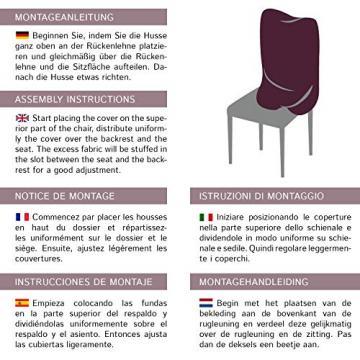SCHEFFLER-Home Stretch Stuhlhusse Jacquard Lea | 2er Set elastische Stuhlabdeckungen | Stuhlhussen Schwingstühle | Spannbezug mit Gummiband | Elegante Stuhlbezüge, Braun - 6