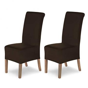 SCHEFFLER-Home Stretch Stuhlhusse Lena, 2er Set elastische Stuhlabdeckungen, Stuhlhussen Schwingstühle, Spannbezug mit Gummiband, Elegante Stuhlbezüge - 1