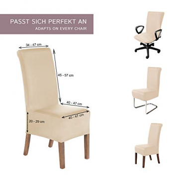 SCHEFFLER-Home Stretch Stuhlhusse Lena, 2er Set elastische Stuhlabdeckungen, Stuhlhussen Schwingstühle, Spannbezug mit Gummiband, Elegante Stuhlbezüge - 5
