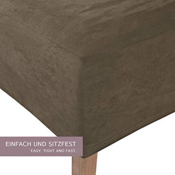 SCHEFFLER-Home Stretch Stuhlhusse Leon | 2er Set elastische Stuhlabdeckungen aus Wildleder | Stuhlhussen Schwingstühle | Spannbezug mit Gummiband | Elegante Stuhlbezüge - 2