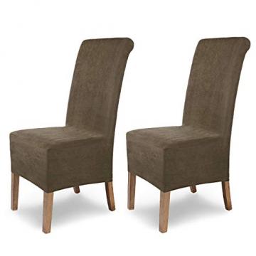 SCHEFFLER-Home Stretch Stuhlhusse Leon | 2er Set elastische Stuhlabdeckungen aus Wildleder | Stuhlhussen Schwingstühle | Spannbezug mit Gummiband | Elegante Stuhlbezüge - 1