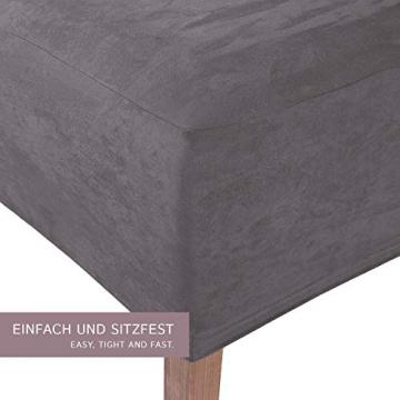 SCHEFFLER-Home Stretch Stuhlhusse Leon | 4er Set elastische Stuhlabdeckungen aus Wildleder | Stuhlhussen Schwingstühle | Spannbezug mit Gummiband | Elegante Stuhlbezüge - 2