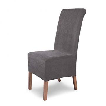 SCHEFFLER-Home Stretch Stuhlhusse Leon | 4er Set elastische Stuhlabdeckungen aus Wildleder | Stuhlhussen Schwingstühle | Spannbezug mit Gummiband | Elegante Stuhlbezüge - 1