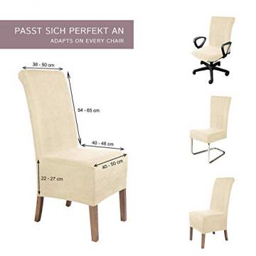 SCHEFFLER-Home Stretch Stuhlhusse Leon | 4er Set elastische Stuhlabdeckungen aus Wildleder | Stuhlhussen Schwingstühle | Spannbezug mit Gummiband | Elegante Stuhlbezüge - 5