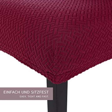 SCHEFFLER-Home Stretch Stuhlhusse Luna   2er Set elastische Flanell Stuhlabdeckungen   Stuhlhussen Schwingstühle   Spannbezug mit Gummiband   Elegante Stuhlbezüge aus Samt - 2