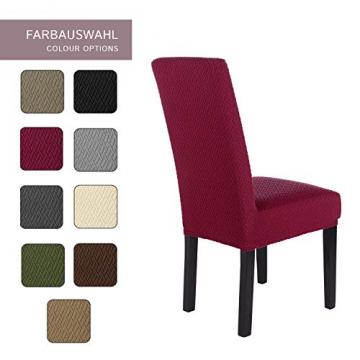 SCHEFFLER-Home Stretch Stuhlhusse Luna   2er Set elastische Flanell Stuhlabdeckungen   Stuhlhussen Schwingstühle   Spannbezug mit Gummiband   Elegante Stuhlbezüge aus Samt - 4