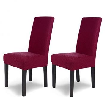 SCHEFFLER-Home Stretch Stuhlhusse Luna   2er Set elastische Flanell Stuhlabdeckungen   Stuhlhussen Schwingstühle   Spannbezug mit Gummiband   Elegante Stuhlbezüge aus Samt - 1