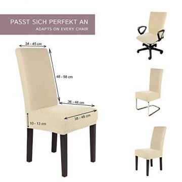 SCHEFFLER-Home Stretch Stuhlhusse Luna   2er Set elastische Flanell Stuhlabdeckungen   Stuhlhussen Schwingstühle   Spannbezug mit Gummiband   Elegante Stuhlbezüge aus Samt - 5