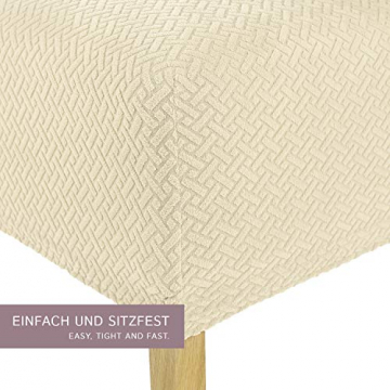 SCHEFFLER-Home Stretch Stuhlhusse Luna-Lang | 2er Set elastische Flanell Stuhlabdeckungen | Stuhlhussen Schwingstühle | Spannbezug mit Gummiband | Elegante Stuhlbezüge - 2