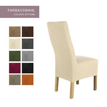 SCHEFFLER-Home Stretch Stuhlhusse Luna-Lang | 2er Set elastische Flanell Stuhlabdeckungen | Stuhlhussen Schwingstühle | Spannbezug mit Gummiband | Elegante Stuhlbezüge - 4