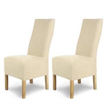 SCHEFFLER-Home Stretch Stuhlhusse Luna-Lang | 2er Set elastische Flanell Stuhlabdeckungen | Stuhlhussen Schwingstühle | Spannbezug mit Gummiband | Elegante Stuhlbezüge - 1