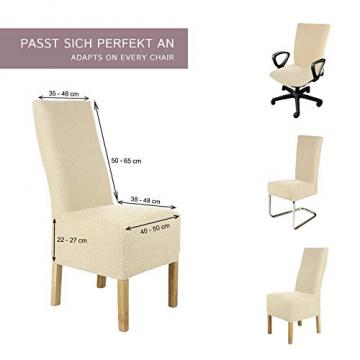 SCHEFFLER-Home Stretch Stuhlhusse Luna-Lang | 2er Set elastische Flanell Stuhlabdeckungen | Stuhlhussen Schwingstühle | Spannbezug mit Gummiband | Elegante Stuhlbezüge - 5