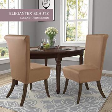 SCHEFFLER-Home Stretch Stuhlhusse Marie | 2er Set elastische Stuhlabdeckungen mit Fleckschutz | Stuhlhussen Schwingstühle | Spannbezug mit Gummiband | Elegante Stuhlbezüge - 3