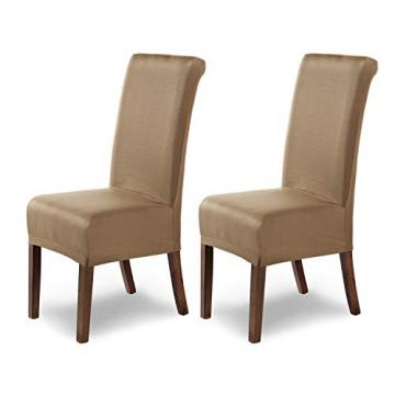 SCHEFFLER-Home Stretch Stuhlhusse Marie | 2er Set elastische Stuhlabdeckungen mit Fleckschutz | Stuhlhussen Schwingstühle | Spannbezug mit Gummiband | Elegante Stuhlbezüge - 1