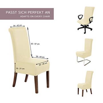 SCHEFFLER-Home Stretch Stuhlhusse Marie | 2er Set elastische Stuhlabdeckungen mit Fleckschutz | Stuhlhussen Schwingstühle | Spannbezug mit Gummiband | Elegante Stuhlbezüge - 5