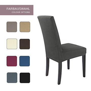 SCHEFFLER-Home Stretch Stuhlhusse Mia | 2er Set elastische Stuhlabdeckungen | Stuhlhussen Schwingstühle | Mikrofaser Spannbezug mit Gummizug | Elegante Stuhlbezüge - 4