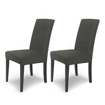 SCHEFFLER-Home Stretch Stuhlhusse Mia | 2er Set elastische Stuhlabdeckungen | Stuhlhussen Schwingstühle | Mikrofaser Spannbezug mit Gummizug | Elegante Stuhlbezüge - 1
