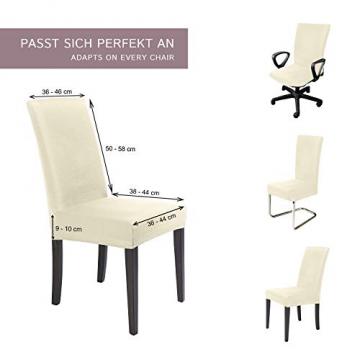 SCHEFFLER-Home Stretch Stuhlhusse Mia | 2er Set elastische Stuhlabdeckungen | Stuhlhussen Schwingstühle | Mikrofaser Spannbezug mit Gummizug | Elegante Stuhlbezüge - 5
