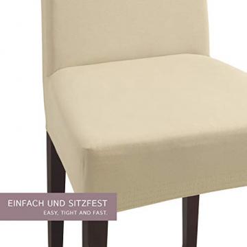 SCHEFFLER-Home Stretch Stuhlhusse Natalie   2er Set elastische Stuhlabdeckungen aus Baumwolle   Stuhlhussen Schwingstühle   Spannbezug mit Gummiband   Elegante Stuhlbezüge - 2