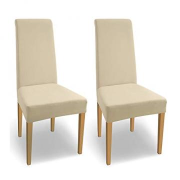 SCHEFFLER-Home Stretch Stuhlhusse Natalie   2er Set elastische Stuhlabdeckungen aus Baumwolle   Stuhlhussen Schwingstühle   Spannbezug mit Gummiband   Elegante Stuhlbezüge - 1