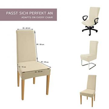 SCHEFFLER-Home Stretch Stuhlhusse Natalie   2er Set elastische Stuhlabdeckungen aus Baumwolle   Stuhlhussen Schwingstühle   Spannbezug mit Gummiband   Elegante Stuhlbezüge - 5