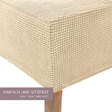 SCHEFFLER-Home Stretch Stuhlhusse Sofia | 2er Set elastische Stuhlabdeckungen | Stuhlhussen Schwingstühle | Flanell Spannbezug mit Gummiband | Elegante Stuhlbezüge - 2