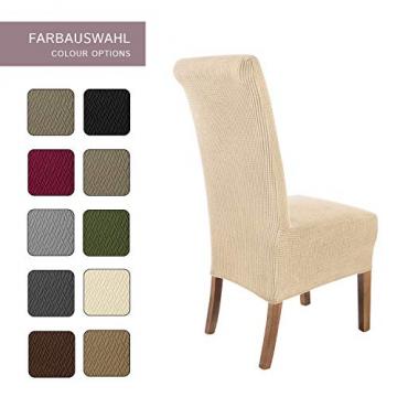 SCHEFFLER-Home Stretch Stuhlhusse Sofia | 2er Set elastische Stuhlabdeckungen | Stuhlhussen Schwingstühle | Flanell Spannbezug mit Gummiband | Elegante Stuhlbezüge - 4
