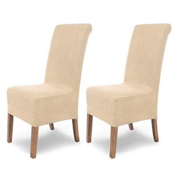 SCHEFFLER-Home Stretch Stuhlhusse Sofia | 2er Set elastische Stuhlabdeckungen | Stuhlhussen Schwingstühle | Flanell Spannbezug mit Gummiband | Elegante Stuhlbezüge - 1