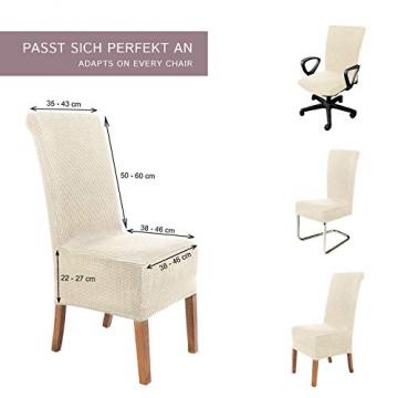 SCHEFFLER-Home Stretch Stuhlhusse Sofia | 2er Set elastische Stuhlabdeckungen | Stuhlhussen Schwingstühle | Flanell Spannbezug mit Gummiband | Elegante Stuhlbezüge - 5