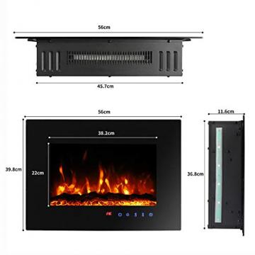 Sekey Home Elektrokamin | Deko-Kamin | Wandkamin mit Heizlüfter | Thermostat | Wochentimer | LED-Beleuchtung | 3D Flammeneffekte | 7 Flammenfarben | Fernbedienung | Geräuscharm | Wandmontage | Schwarz - 2