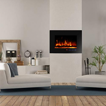 Sekey Home Elektrokamin | Deko-Kamin | Wandkamin mit Heizlüfter | Thermostat | Wochentimer | LED-Beleuchtung | 3D Flammeneffekte | 7 Flammenfarben | Fernbedienung | Geräuscharm | Wandmontage | Schwarz - 4