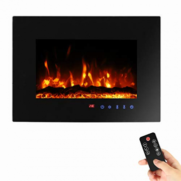 Sekey Home Elektrokamin | Deko-Kamin | Wandkamin mit Heizlüfter | Thermostat | Wochentimer | LED-Beleuchtung | 3D Flammeneffekte | 7 Flammenfarben | Fernbedienung | Geräuscharm | Wandmontage | Schwarz - 1