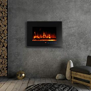 Sekey Home Elektrokamin | Deko-Kamin | Wandkamin mit Heizlüfter | Thermostat | Wochentimer | LED-Beleuchtung | 3D Flammeneffekte | 7 Flammenfarben | Fernbedienung | Geräuscharm | Wandmontage | Schwarz - 5