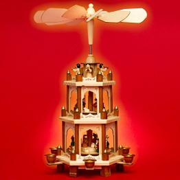 SIKORA P20 Klassische Holz Weihnachtspyramide 3 Etagen - 1