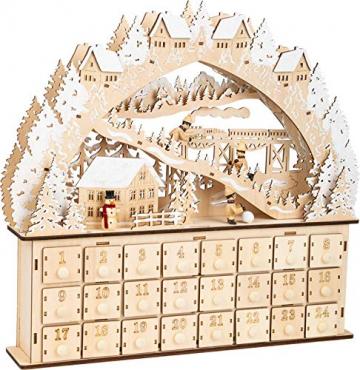 small foot 11789 Adventskalender Skivergnügen aus Holz mit 24 Schubladen, Weihnachtspyramide mit LED-Beleuchtung, Weihnachtsdeko Deko, Mehrfarbig, normal - 3