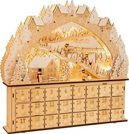small foot 11789 Adventskalender Skivergnügen aus Holz mit 24 Schubladen, Weihnachtspyramide mit LED-Beleuchtung, Weihnachtsdeko Deko, Mehrfarbig, normal - 1