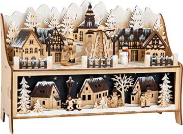 small foot 11790 Lampe Winterdorf mit Pyramide aus Holz, mit LED-Beleuchtung und Weihnachtspyramide, Weihnachtsdeko beleuchtet Deko, Mehrfarbig, normal - 2