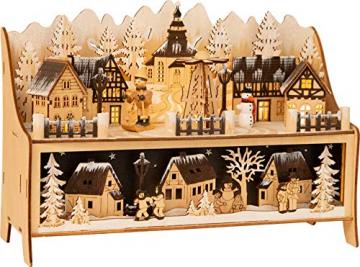 small foot 11790 Lampe Winterdorf mit Pyramide aus Holz, mit LED-Beleuchtung und Weihnachtspyramide, Weihnachtsdeko beleuchtet Deko, Mehrfarbig, normal - 1